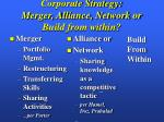 corporate strategy merger alliance network or build from within