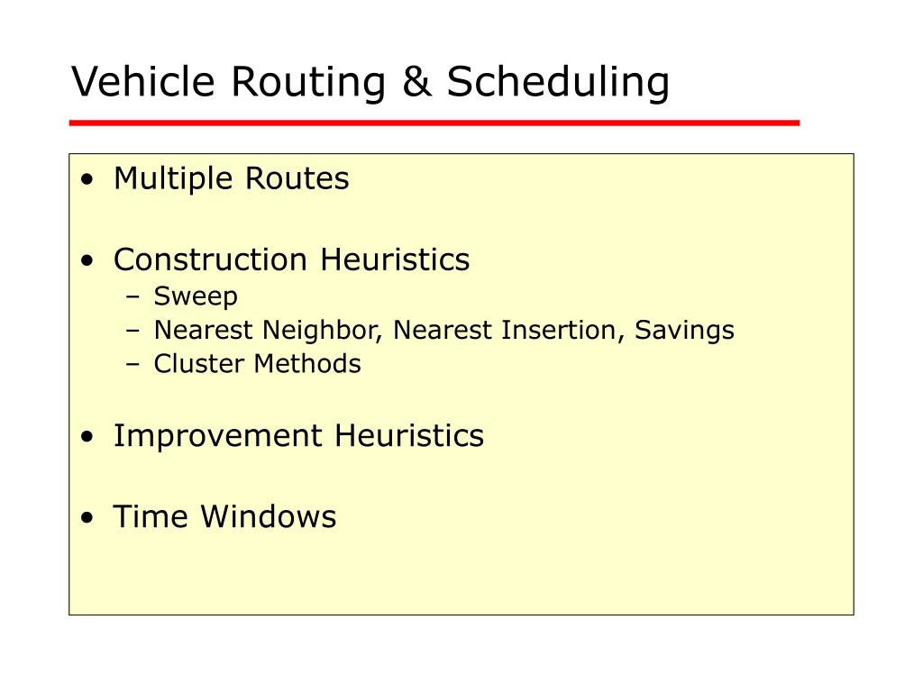 vehicle routing scheduling l.