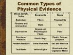 common types of physical evidence