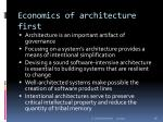 economics of architecture first
