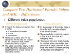 compare two horizontal portals yahoo and aol differences14