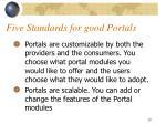 five standards for good portals