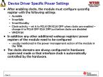 device driver specific power settings