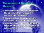 placement of needle in tissue