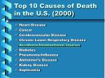 top 10 causes of death in the u s 2000