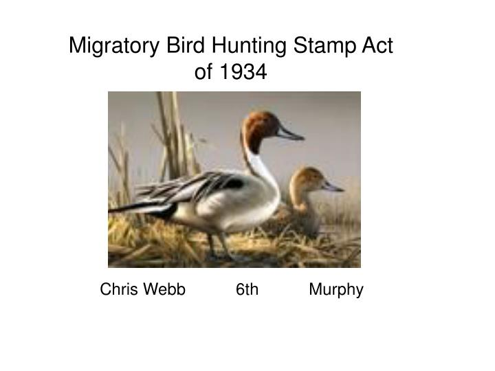 migratory bird hunting stamp act of 1934 n.
