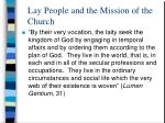 lay people and the mission of the church