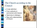 the church according to the council