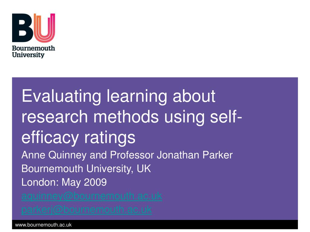 evaluating learning about research methods using self efficacy ratings l.