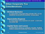 other corporate tax considerations