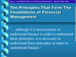 ten principles that form the foundations of financial management