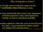 why immigrate to cities