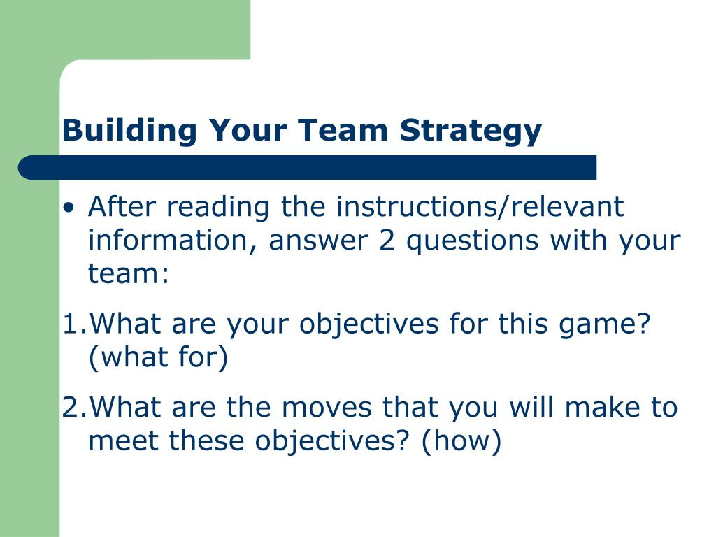 Building Your Team Strategy