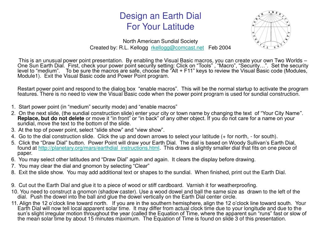 design an earth dial for your latitude l.