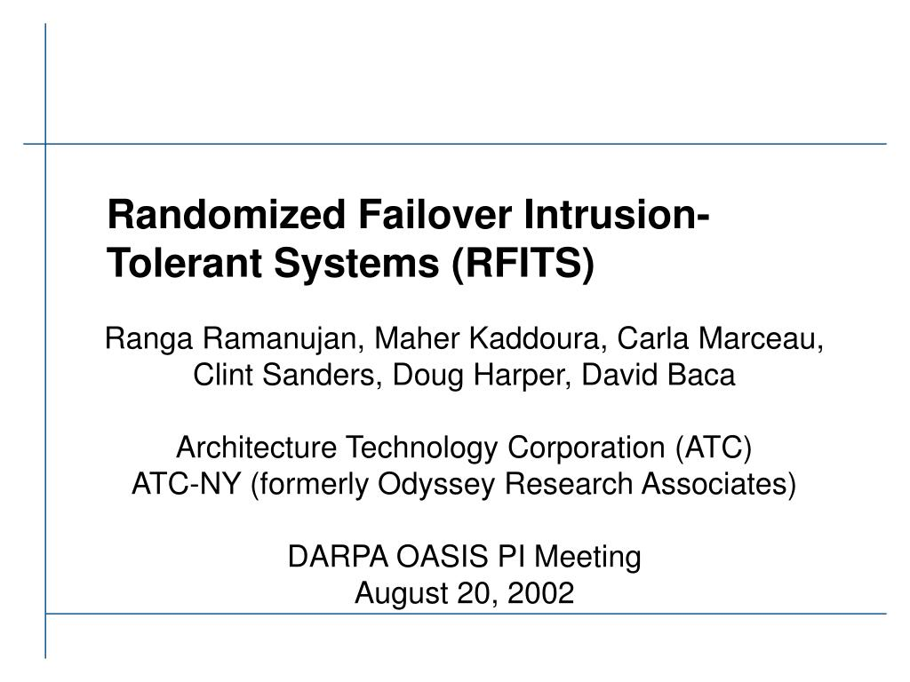 randomized failover intrusion tolerant systems rfits l.