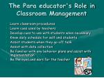 the para educator s role in classroom management