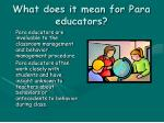 what does it mean for para educators