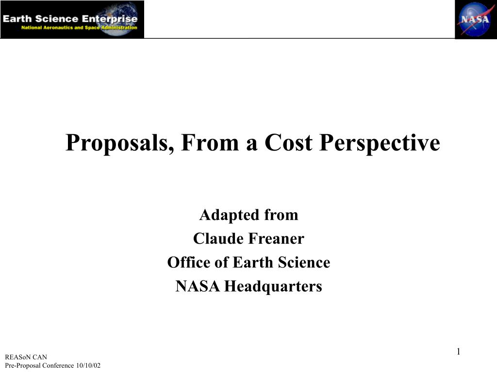 proposals from a cost perspective l.