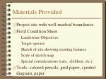 materials provided
