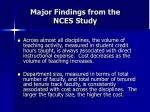 major findings from the nces study