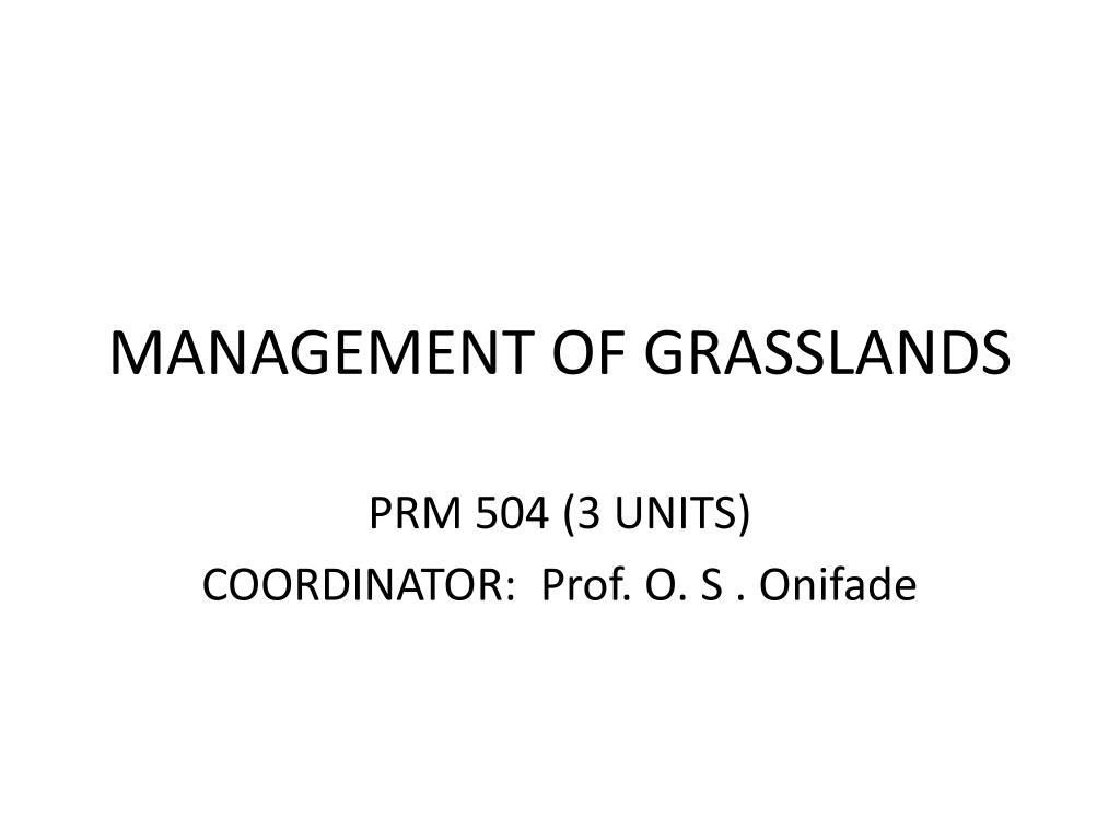 management of grasslands l.