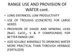range use and provision of water cont