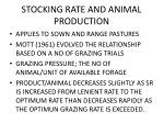 stocking rate and animal production
