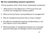 my five outstanding research questions