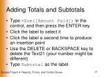 adding totals and subtotals17
