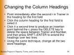 changing the column headings