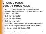creating a report using the report wizard7