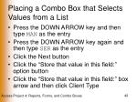 placing a combo box that selects values from a list42
