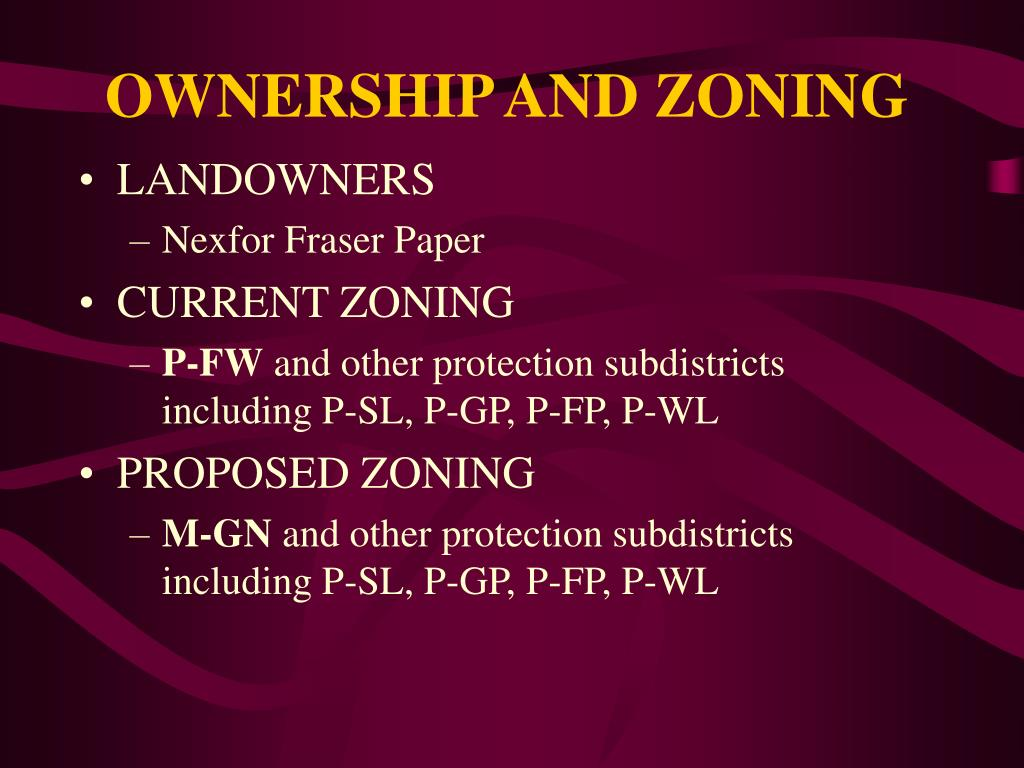 OWNERSHIP AND ZONING