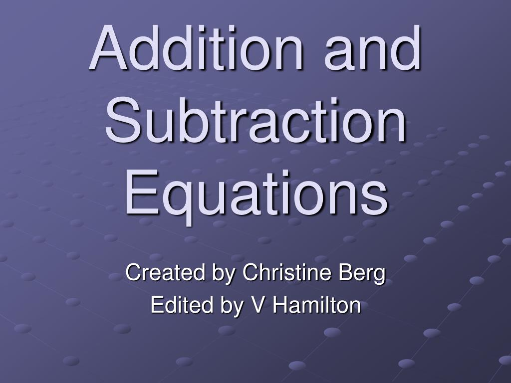 addition and subtraction equations l.