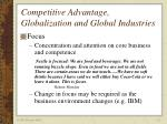 competitive advantage globalization and global industries