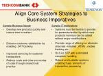 align core system strategies to business imperatives
