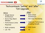 techcombank before and after t24 upgrade