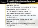 allowable miscellaneous expenses for business only