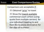 cost comparisons quotes