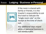 lodging business w personal