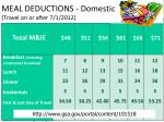 meal deductions domestic travel on or after 7 1 2012