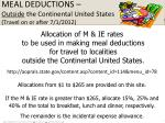 meal deductions outside the continental united states travel on or after 7 1 2012