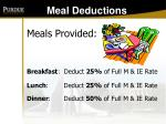 meal deductions
