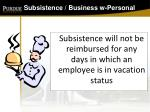 subsistence business w personal