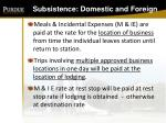 subsistence domestic and foreign