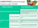 subsistence domestic foreign travel on or after 7 1 2012