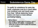 subsistence same day
