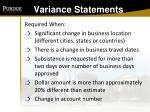 variance statements