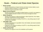 goals federal and state listed species