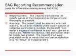 eag reporting recommendation used for information sharing among eag fius